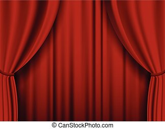 Red theater heavy curtain. Vector background.