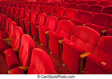 french classical red velvet theater seat in rows