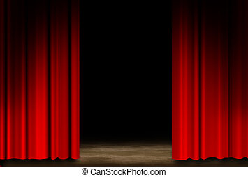 Red Theater Stage. Red Theater Stage Drapes With wall ground