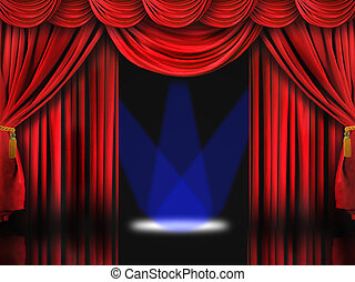 Red Theater Stage With Blue Spot Lights - Dramatic Red...