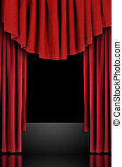 Red Theatre Stage Draped Curtains - Red Vertical Draped...