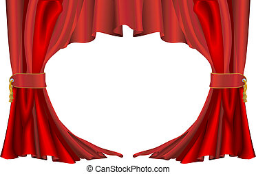 An illustration of a pair of red theatre style curtains