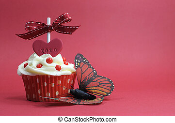Red theme cupcake with love heart and butterfly on red background for Valentines Day, Mothers Day, bridal shower, wedding, or birthday party.