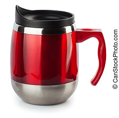 red thermocup isolated on white background