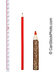 Red thick and thin pencils with ruler isloated on white