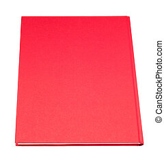 Red thin book isolated on white background