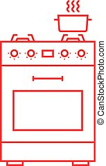red thin line gas stove icon