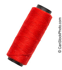 red thread on a white background. macro