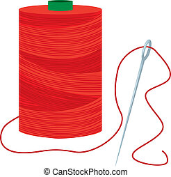 Red Thread Spool With Needle - Red sewing thread spool and...