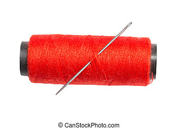 red thread with a needle on a white background. macro
