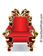 red throne isolated on the white background