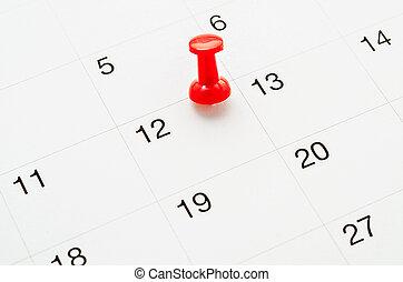 Red Thumb Tack on Calendar. - Red Thumb Tack on Calendar...
