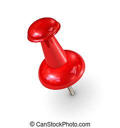 Red Thumbtack - A red Thumbtack isolated on a white...