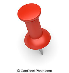 Red thumbtack on a white background. 3d image