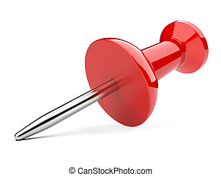 Red thumbtack isolated on a white background.