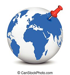 Red thumbtack on blue globe