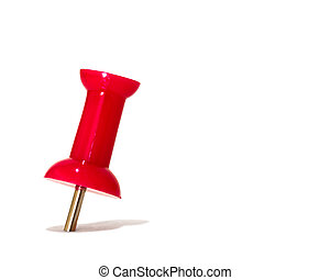 red thumbtack over white background
