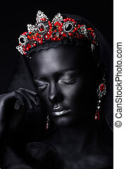 red tiara on black skin