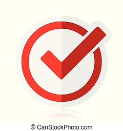 Red tick checkbox vector illustration isolated on white background