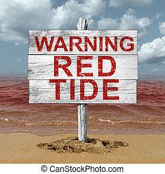 Red Tide Beach Warning - Red tide beach warning sign as...