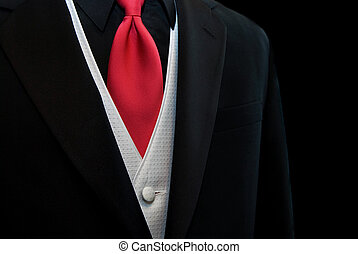Red Tie - Red tie accenting a black tuxedo.