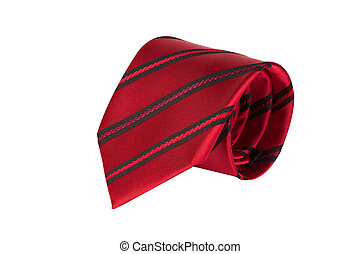 Red tie with strips isolated on white background