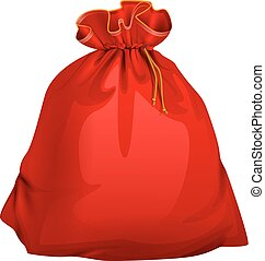 Red tied closed full santa bag with gifts. Christmas...