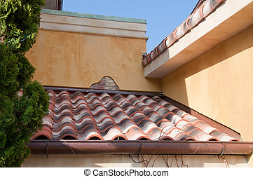 Red Tile Roof of the Mediterranean Building