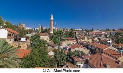 Red tile roofs of the Antalya Old Town timelapse hyperlapse,...