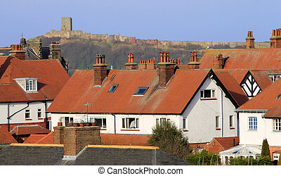 Red tiled houses and Scarborough Castle