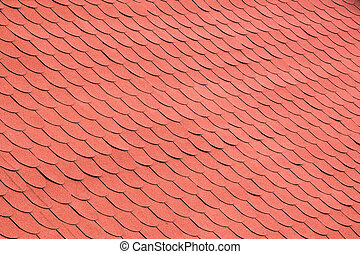 Red Tiles on a Roof Background - Red Pink Color Roof Tiles...