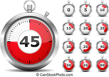 Red Timers - Set of red timers, vector eps10 illustration