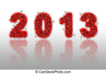 red tinsel forming 2013 year number