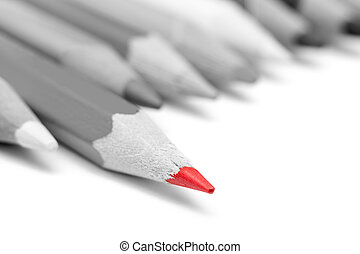 Stepping Up From The Crowd Concept - Red Tip Pencil Stepping...