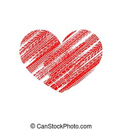 Red tire track heart