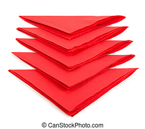 red tissue paper isolated on white background