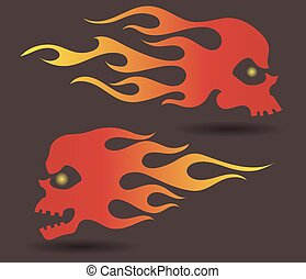 Red to yellow gradiently colored silhouettes of flaming...