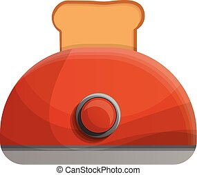 Red toaster icon, cartoon style