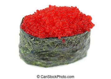 Red tobiko sushi - Red tobiko (flying fish roe) sushi ...