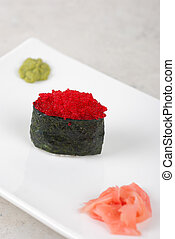 Red tobiko sushi - Red tobiko with flying fish roe sushi ...