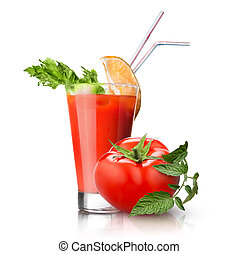 red tomato and glass of juice on white