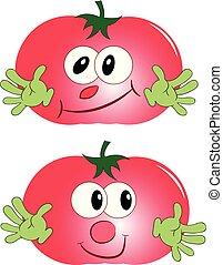 red tomato cartoon vector illustration