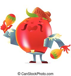 Red tomato character in torero clothes singing and playing maracas