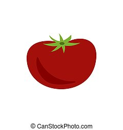 Red tomato flat style on white background. Vector illustration.