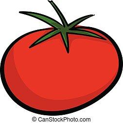 Red tomato icon, cartoon style