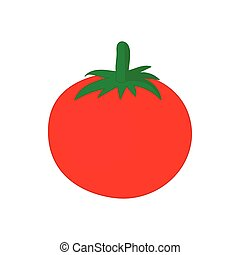 Red tomato icon, cartoon style
