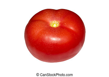 Red tomato isolated on a white background.