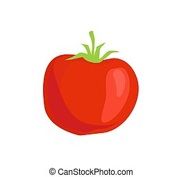 Red Tomato Isolated Vector Icon in Cartoon Style
