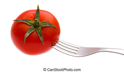 Red tomato on a plug isolated on the white
