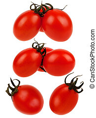 Red tomato set on white background